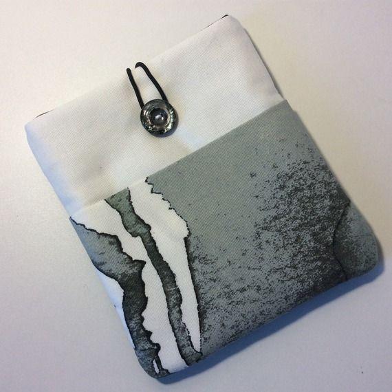 Pochette pour liseuse KOBO Aura, coton blanc imprimé tâches d'encre, houssespour liseuse Kobo Aura, étui