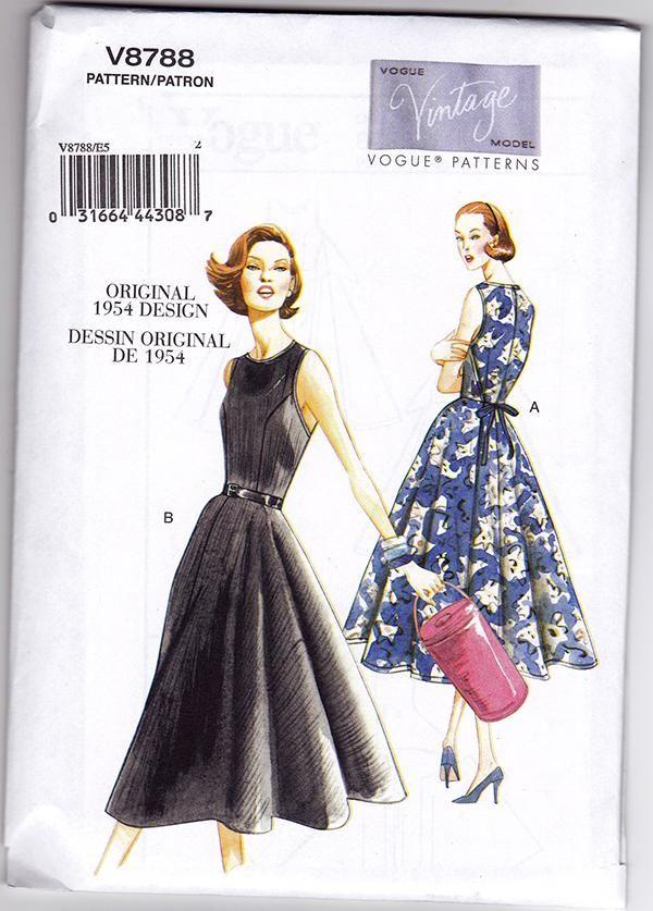 50s fifties style Vintage Vogue V8788 retro wrap Retro dress SEWING PATTERN