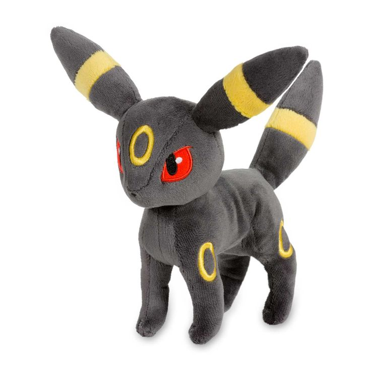 Official Umbreon Poké Plush. This carefully detailed plush shows off Umbreon's gold-ringed ears and tail, as well as its bright eyes and forehead ring. Pokémon Center Original design.