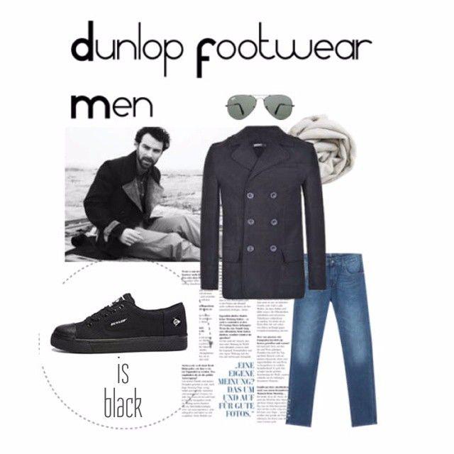 #At5ocloock os presentamos un #lookcasual con #DunlopFootwear. Si quieres sorprender apuesta por #Dunlop. #Moda #sneakers #black #casual #style
