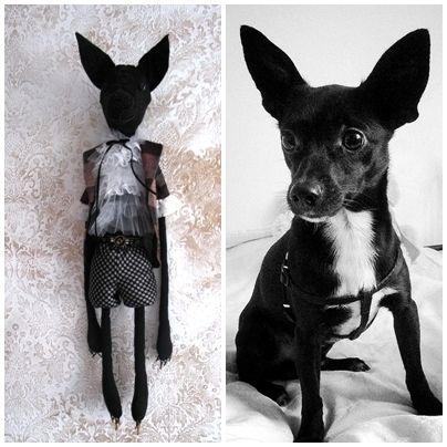 Szyta lalka pies Charlie wyszywana koralikami 62cm w LOLA artystyczna na DaWanda.com