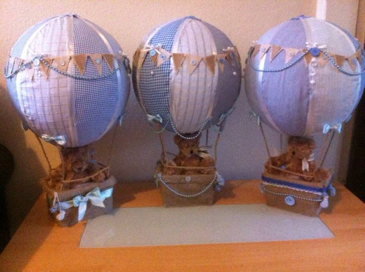 boys christening centrepiece  blue vintage hot air balloons with teddy bears