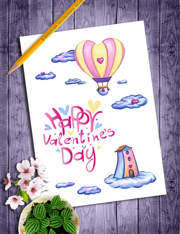 Happy Valentines Day Card, Printable Valentines Day Card for Her, Romantic Valentine Card, Hot Air Balloon, DIY Valentine Watercolor Card by NopiArtStudio on Etsy