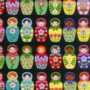 Robert Kaufman - Matryoshka Doll Black - cotton fabric