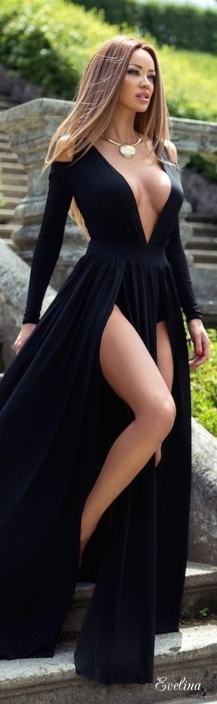Black Very Low Cut V-Neck Evening Gown With Two Thigh-High Slits