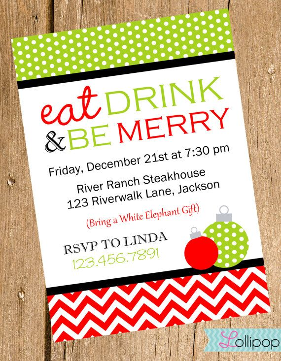 Eat Drink and Be Merry Christmas Invitation, Printable Holiday Christmas Party Invite, DIY Christmas Party Invitation. $13.50, via Etsy.