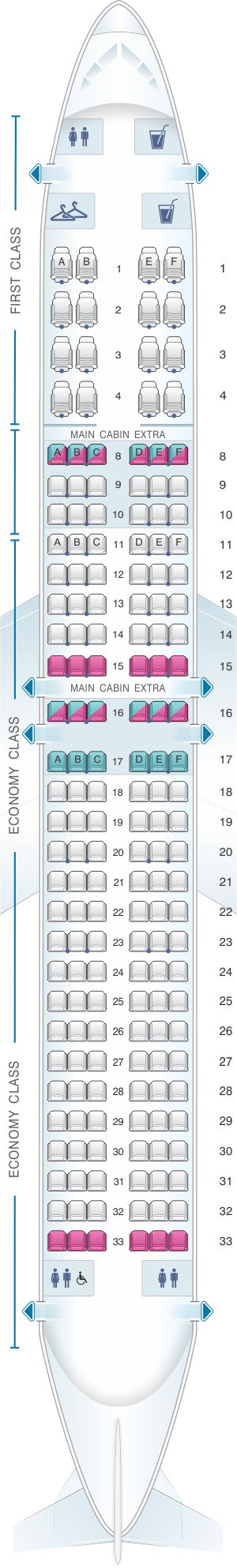 Seat Map American Airlines Boeing B737 MAX