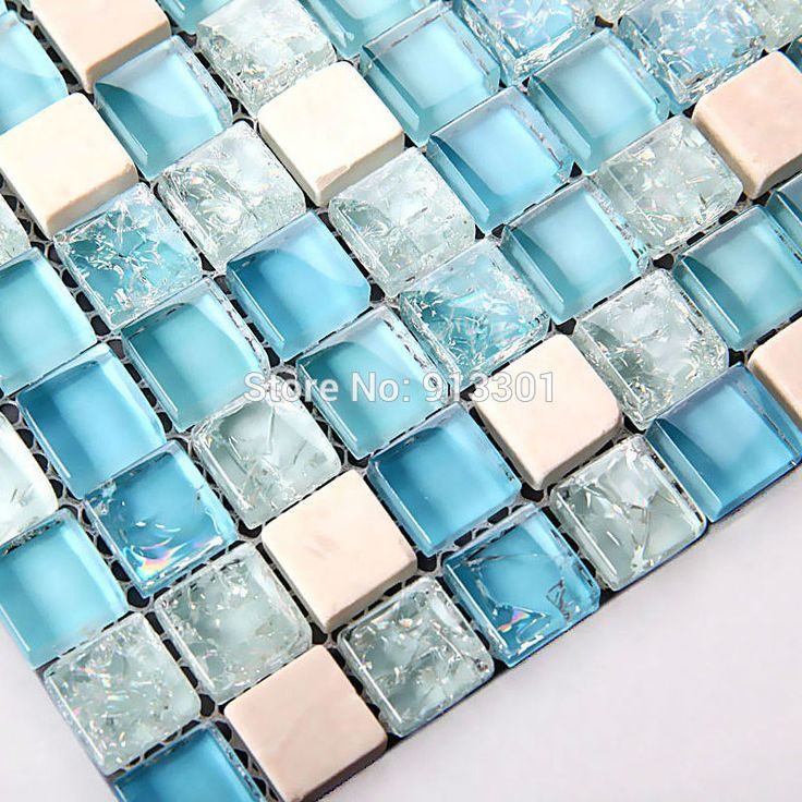 Blue Tile Kitchen Backsplash Contemporary Crystal Glass Tile ...