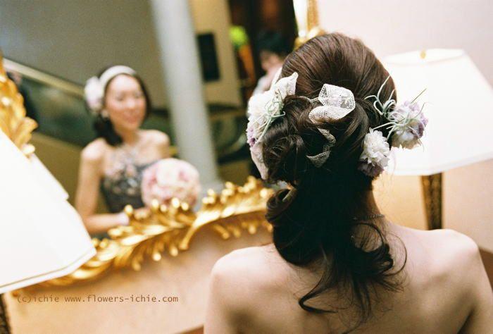 新郎新婦様からのメール セピアラベンダーのアクセサリ 名古屋まで : 一会 ウエディングの花