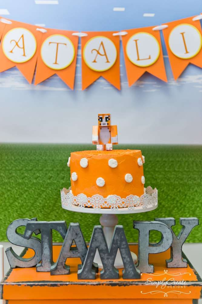 Stampy cake at a Colorful decor at a girl Minecraft birthday party! See more party ideas at CatchMyParty.com!