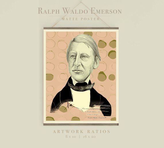 Art Poster, Liberation, Inspiration, Poet, Writer, Illustration Ralph Waldo Emerson Quote Print Harvestable Words