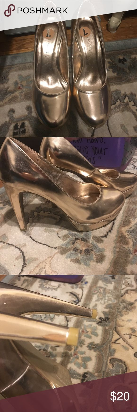 Champagne heels Rampage champagne colored heels. Heels still in good condition as pictured Rampage Shoes Heels