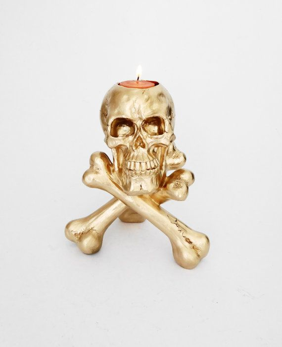 Skull Tea Light Holder Gold And Crossbones Jolly Roger Candle Pirate Decor Painted USD By Hodihomedecor
