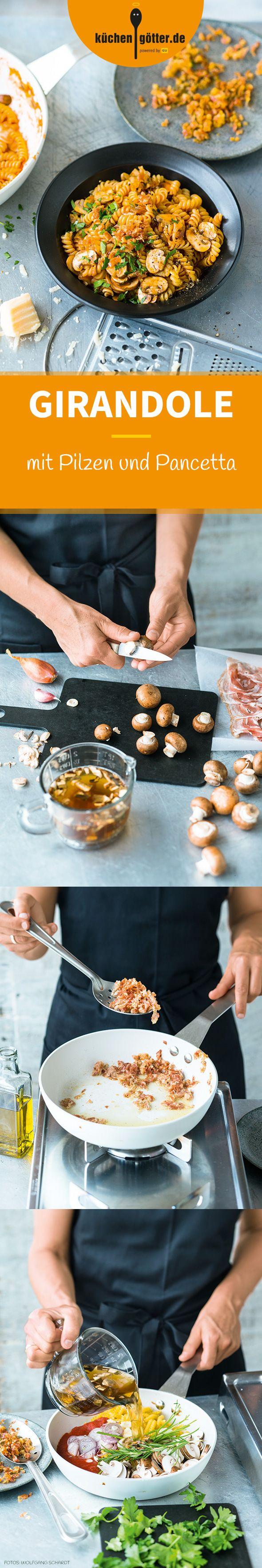 GIRANDOLE AI FUNGHI CON PANCETTA - Unsere Pasta mit Erholungsfaktor überzeugt mit mit einem herrlich intensiven Pilzaroma. Im Sommer kann man frische Pfifferlinge statt Champignons verwenden. Wunderbar!