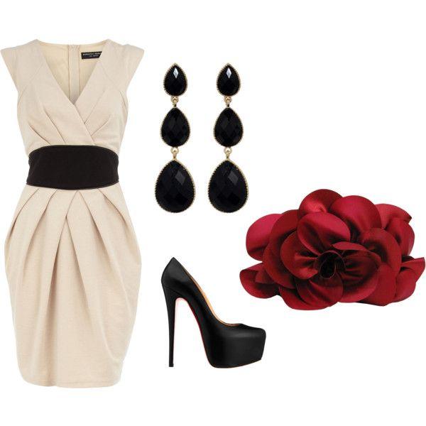 Cream Dress...classic, created by jme2886 on Polyvore