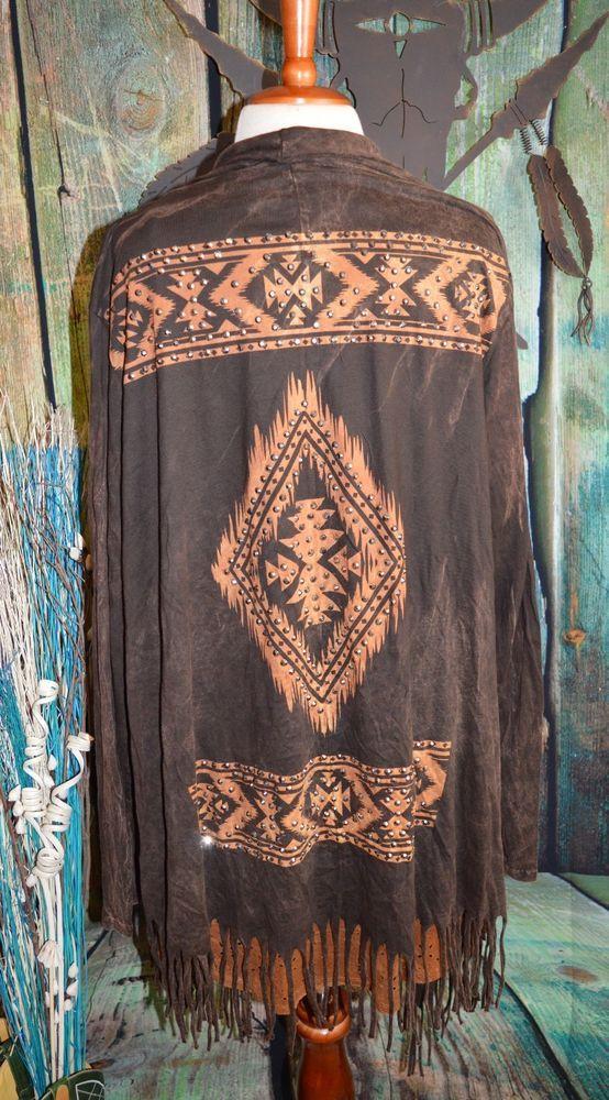 VOCAL Cowgirl BOHO AZTEC Gypsy Brown Drape Jacket Southwestern FRINGE Western 1X…