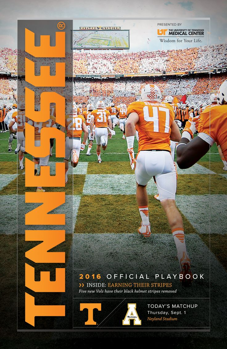 2016 @UTSports Football Gameday Playbook vs. Appalachian St. on 9/1/16. #GoVols
