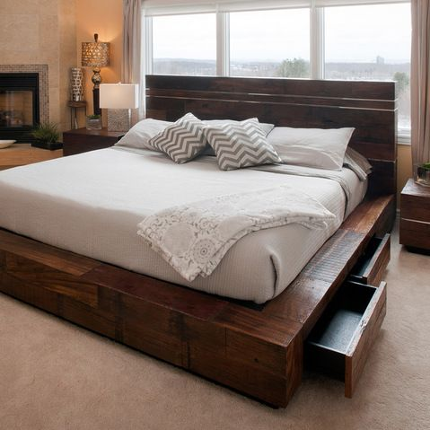 Reclaimed Wood Platform Bed With Drawers Transitional Bedroom Other Metro Woodland Creek Furniture Love It In 2018 Pinterest And