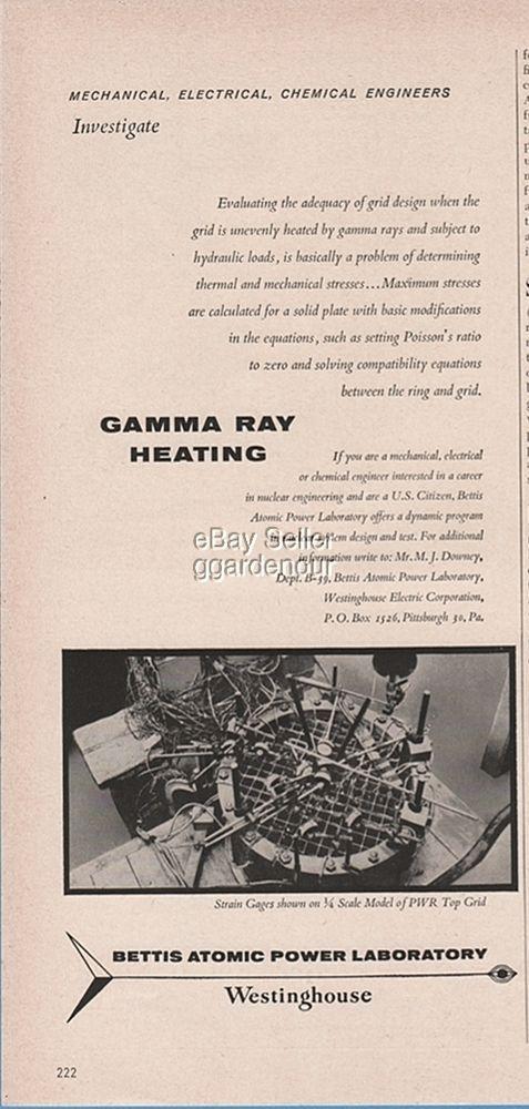 1960 Bettis Atomic Power Gamma Ray Heating Strain Gauges PWR Grid WestinghouseAd