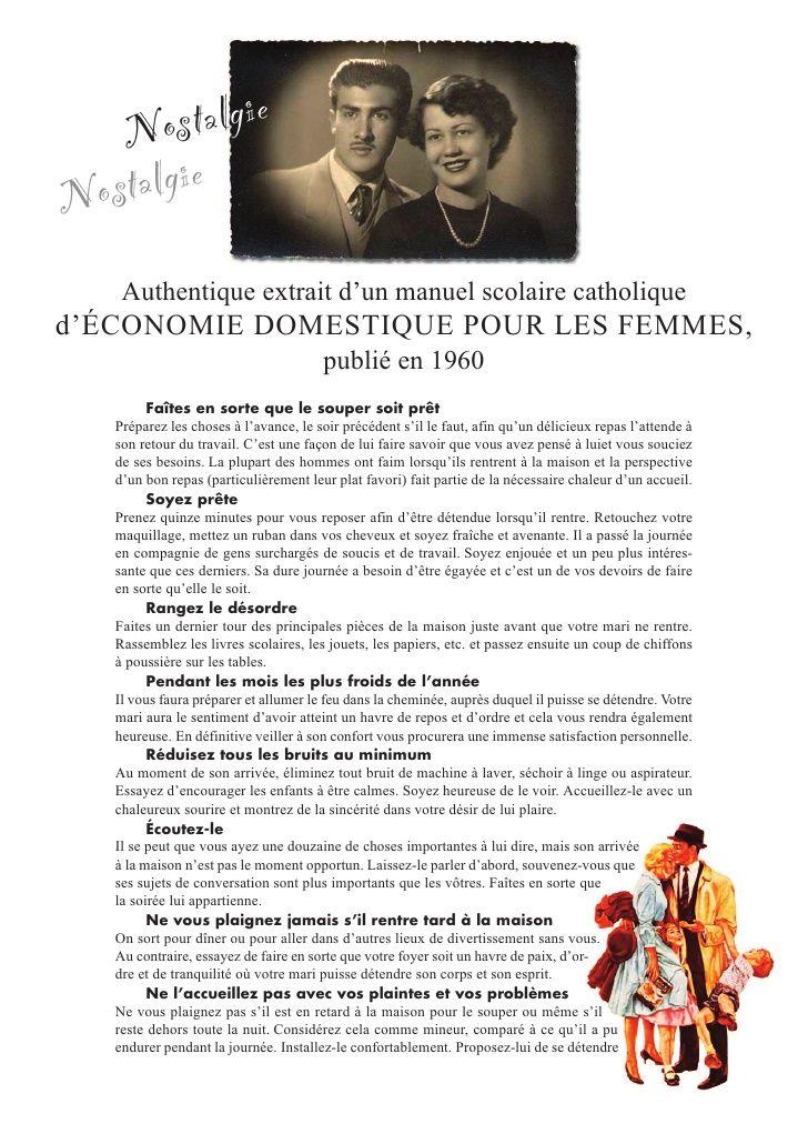 N  ostalgieN ostalgie    Authentique extrait d'un manuel scolaire catholiqued'ÉCONOMIE DOMESTIQUE POUR LES FEMMES,        ...