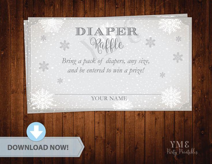 Diaper Raffle Ticket - Winter Wonderland Baby Shower Diaper Raffle Card - Snowflake Baby Shower Diaper Request # 033 by YourMainEventPrints on Etsy https://www.etsy.com/listing/251470936/diaper-raffle-ticket-winter-wonderland