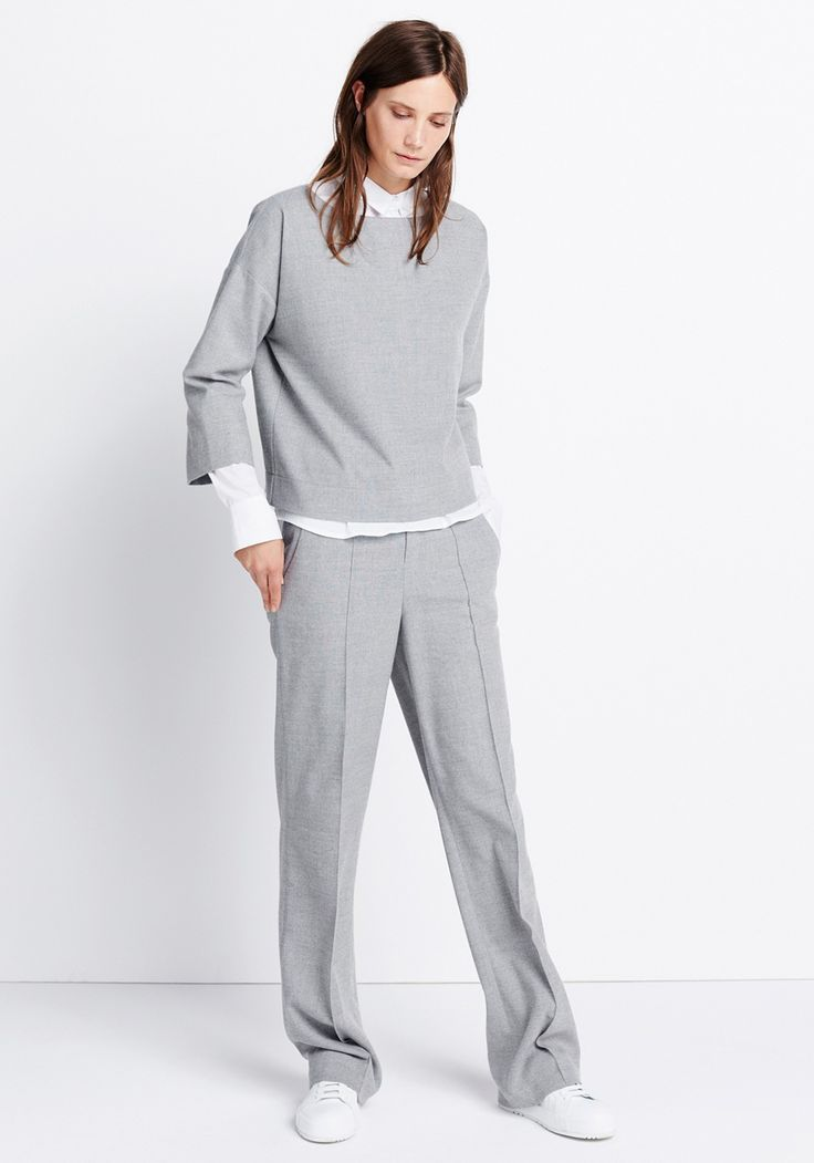 Womens outfit The Complete Look by someday Fashion: grey shirt blouse, white blouse, and grey Marlene trousers