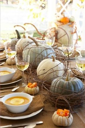Autumn / Fall table with pale pumpkins in peach blue gray tones and little pumpkin baskets - so cute!