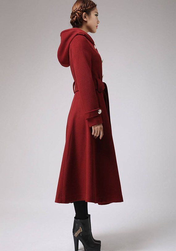 Winter Coat Trench Red Military Long Etsy Xiaolizi Winterstyle Jacket