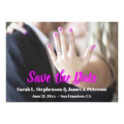 Save the Date with Photo Engagement Ring Magnetic Card - invitations custom unique diy personalize occasions