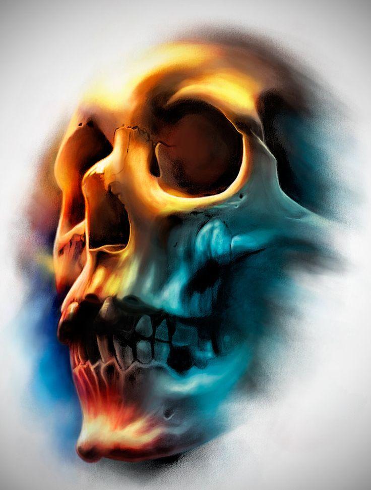Tattoo Design | Color Skull by badfish1111.deviantart.com on @DeviantArt