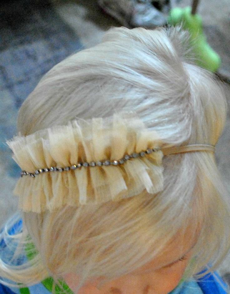 Ruffle Headband, Beige Headband, Flower Girl Headband, Tulle Headband. $10.50, via Etsy.