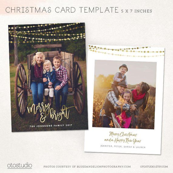 Christmas Card Template Gold Merry Bright Holidays Etsy Christmas Card Template Modern Christmas Cards Christmas Cards