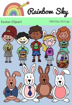 Easter Day Clipart  Included in this pack are the following. - 4 different Easter bunnies - 1 girl with Easter bunny ears - 1 girl with chocolate bunny - 1 girl holding an Easter egg - 2 boys each holding different Easter eggs - 1 Easter egg basket.  Also included black line masters making a total of 20 graphics.  All PNG files, transparent backgrounds at 300 dpi for clear, crisp graphics. ~ Rainbow Sky Creations ~
