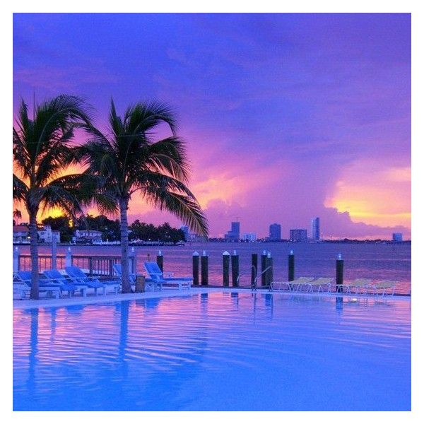 The Standard | Purple sunset at The Standard Spa, Miami Beach.... ❤ liked on Polyvore featuring home, bed & bath, bedding, purple bed linen and purple bedding