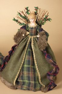 "16"" Green Woodland Angel Tree Topper"