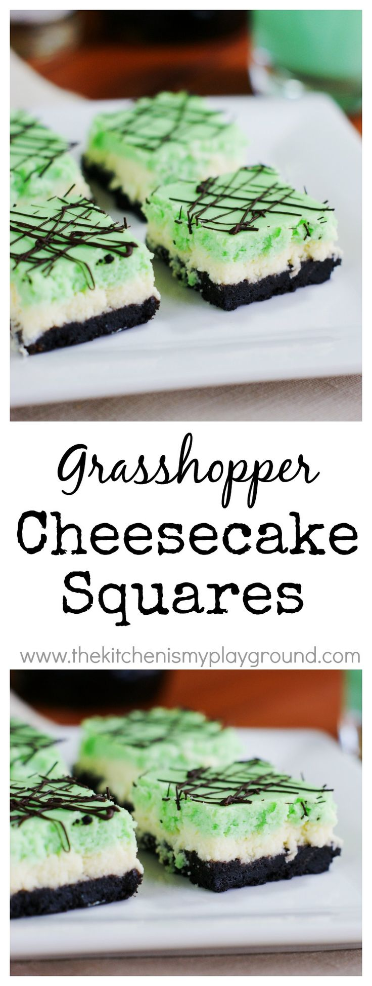 Grasshopper Cheesecake Squares - the flavors of the classic cocktail in a beautifully layered cheesecake treat.    www.thekitchenismyplayground.com