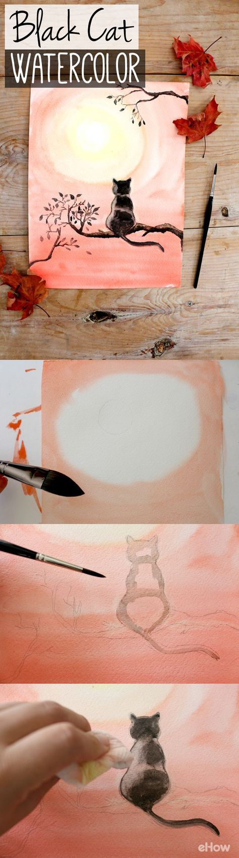 Watercolor artist magazine subscription - Diy Black Cat Watercolor Painting