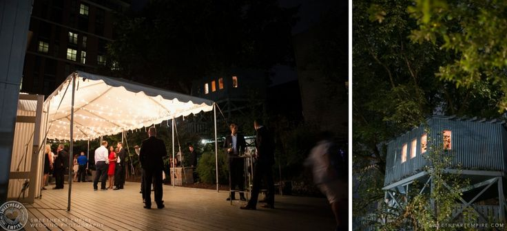 Berkeley Fieldhouse Patio and Berkeley Fieldhouse Treehouse at night. Fairy Lights, Romance, Summer nights. Berkeley Fieldhouse Wedding, Toronto Wedding Photographer. #sweetheartempirephotography