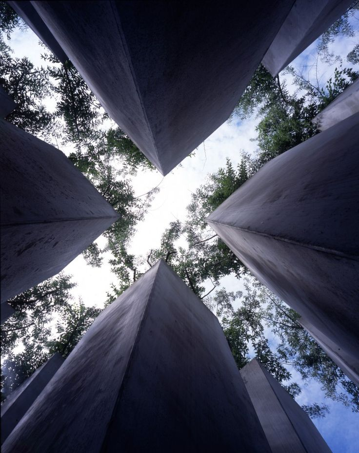 'The Garden of Exile - The Jewish Museum, Berlin.   Designed by Daniel Libeskind' This is a beautiful piece of architecture and the photograph is stunning. I can't wait to see Berlin for myself.
