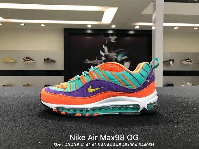 pick up a470c 53917 Mens Original Nike Air Max 98 OG Cone Tour Yellow Hyper Grape White 924462 -800