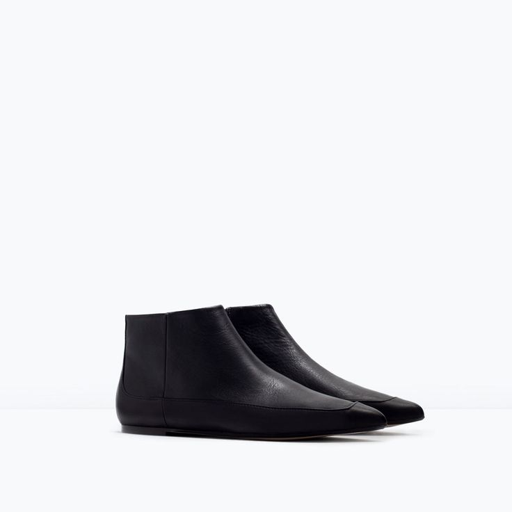 ZARA - SHOES & BAGS - FLAT LEATHER BOOTIES