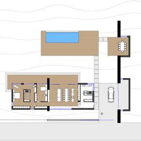 Со стороны главного фасада дом огражден забором, а внутренний фасад, напротив, открыт. Деревянная отделка фасада переходит в интерьер дома, что позволяет усилить связь экстерьера и интерьера.