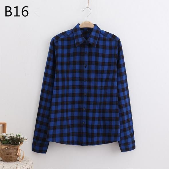 2018 Brand New Fashion Checkered Shirt Women's Casual Style Women's Blouse With Long Sleeve Flannel Shirt Plus Size Cotton Blusa