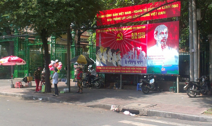 Vietnam is still a socialist country. This is a picture of one of many government posts in and around Saigon's streets.