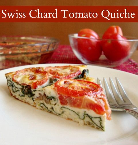 swiss chard tomato quiche - eggs, milk, salt, olive oil, swiss chard or rainbow chard (I used stems as well as leaves), onion powder (I used this instead of scallions), tomatoes, paprika.  Only 100 calories per slice, with 6 slices per pan.  #vegetarian