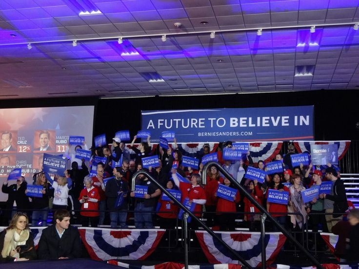 Supporters of Bernie Sanders gather to watch the Iowa caucus results come in. Photo by Brian Kaylor.