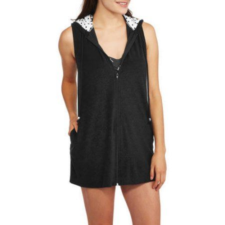 Catalina Women's Zip-Front Hooded Terry Swim Cover-Up, Size: Medium, Black