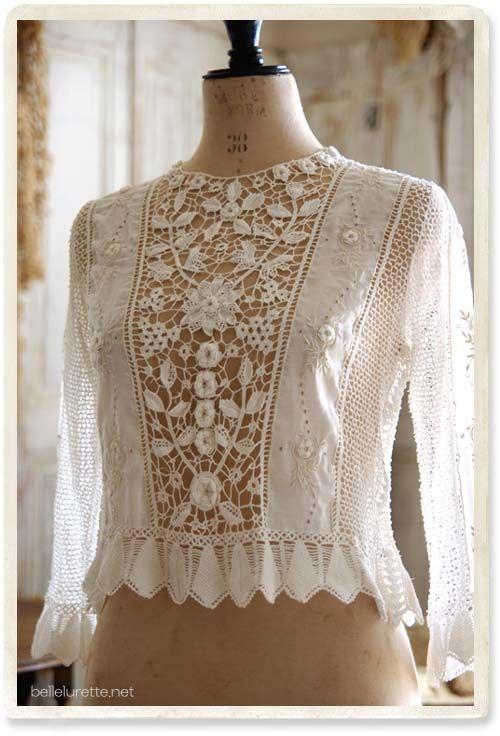 Irish crochet blouse - [Belle Lurette] Europe France antique lace linen clothing mail order