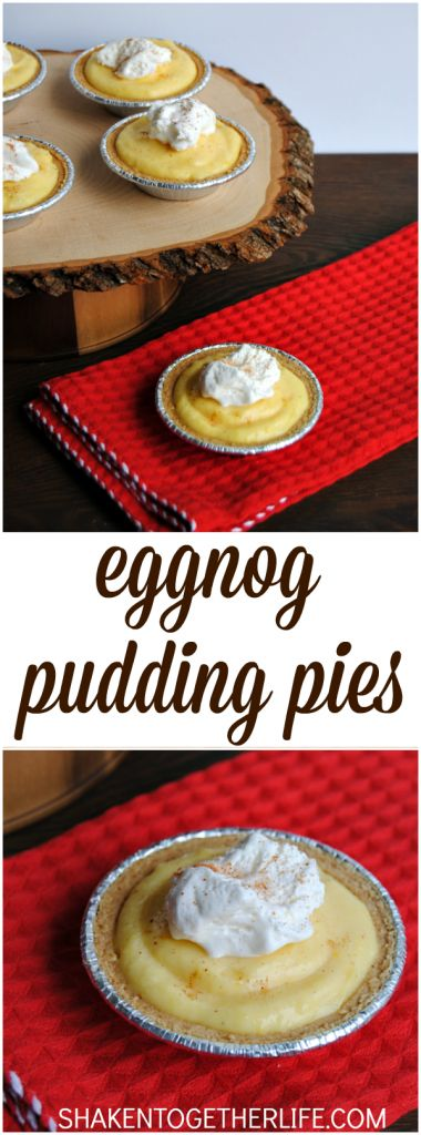Eggnog pudding pies are one of my favorite easy holiday desserts!  No bake and prep ahead of time for stress free holiday entertaining!