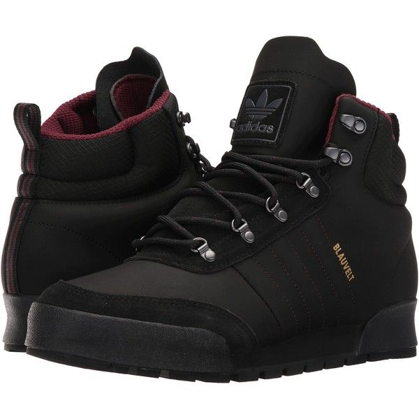 adidas Skateboarding Jake Boot 2.0 (Core Black/Maroon/Dark Grey... ($88) ❤ liked on Polyvore featuring men's fashion, men's shoes, men's boots, black, mens lace up shoes, mens lace up boots, mens rugged boots, mens rugged shoes and adidas mens shoes